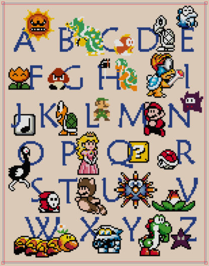 Mario ABC Cross Stitch Pattern