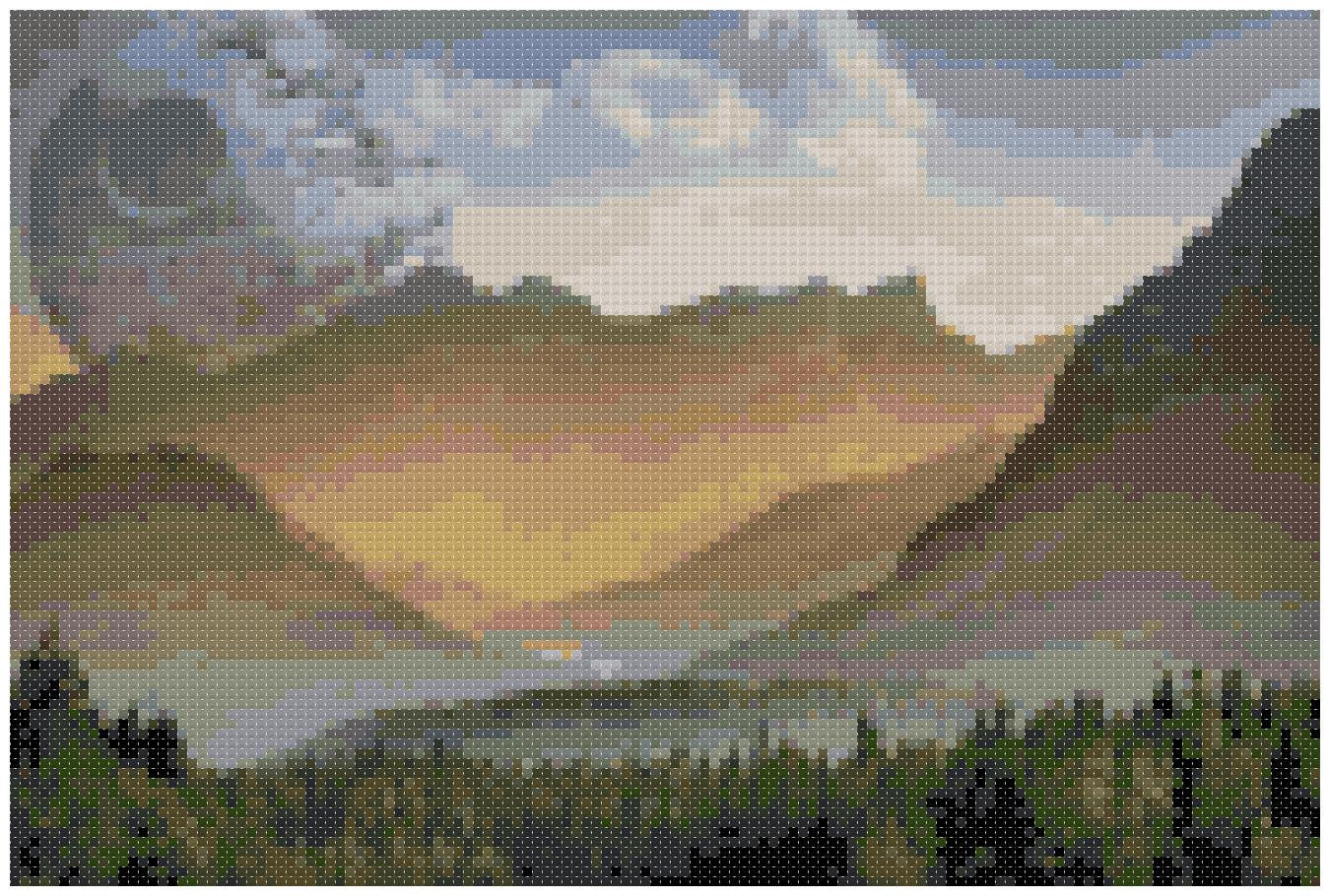 Moon Over the Mountains Cross Stitch Pattern