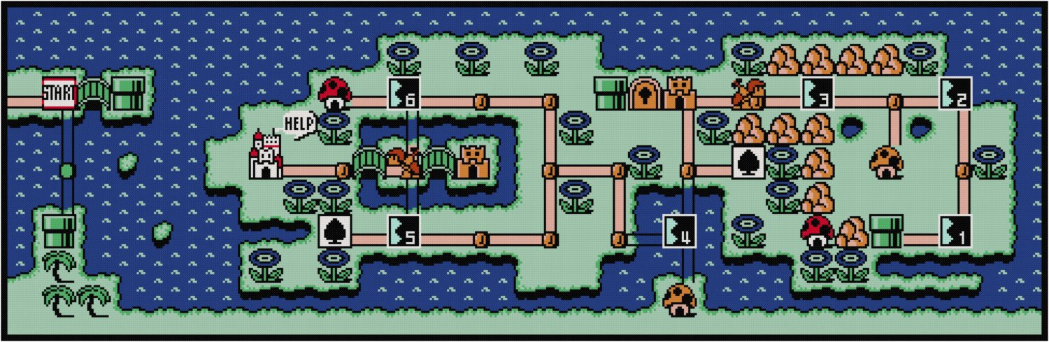 Super Mario Bros 3 World 4 Map Cross Stitch Pattern Nerdpillo
