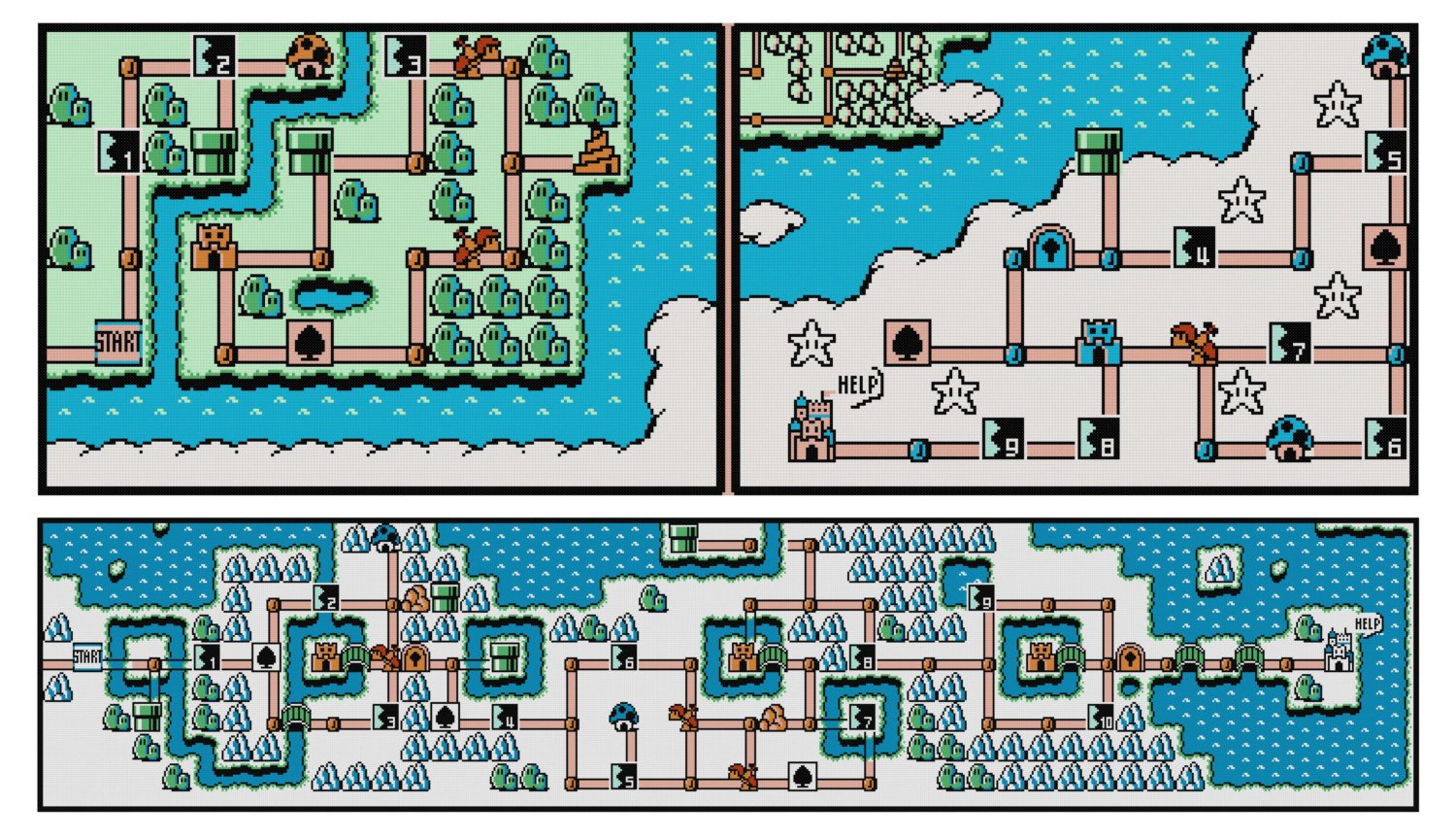 Super Mario Bros 3 World Maps 1 8 Cross Stitch Patterns Bundle